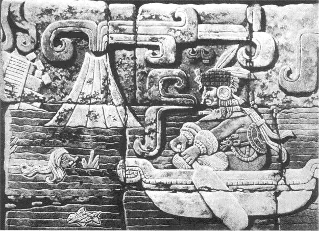 This artwork was once part of the ancient Mayan city of Tikal in Guatemala. Most likely it depicts the demise of Atlantis. A German archaeologist took it to Germany, where it disappeared under suspicious circumstances (as often happens with discoveries that don't fit well within the prevailing opinion in science)
