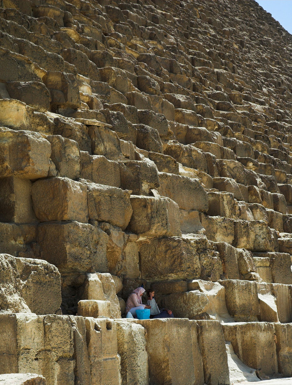 The Great Pyramid of Giza in Egypt: 2.3 million stone blocks, 14.3 billion pounds in total