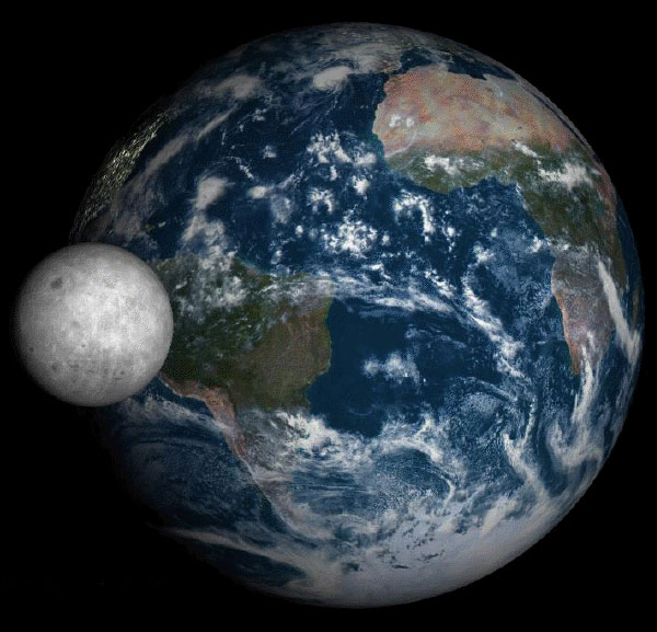 The moon in front of the Earth