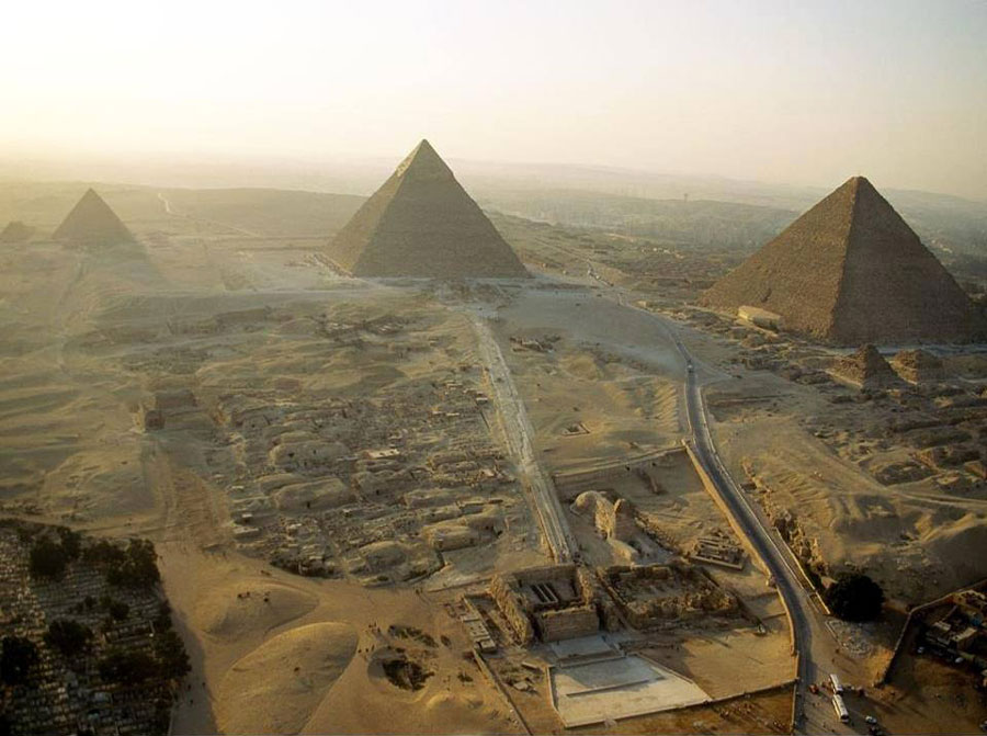 The pyramid complex of Giza, Egypt