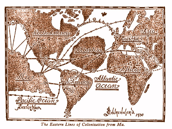 Rough sketch of were Atlantis and Mu (Lemuria) were situated