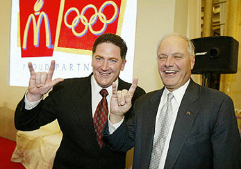 Just as many other illuminati we regularly see the CEOs of McDonald's make a 'secret' illuminati gesture in public appearances, such as here at presentations for the Olympics