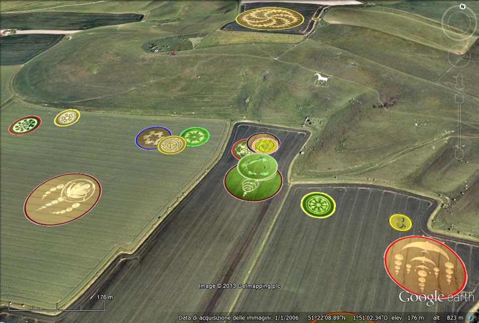 Crop circles at Milk Hill throughout the years